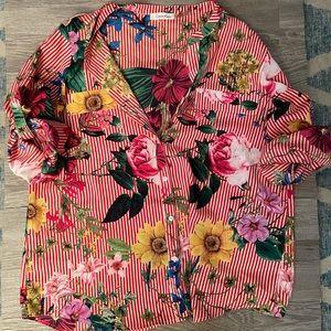 EUC floral Button down
